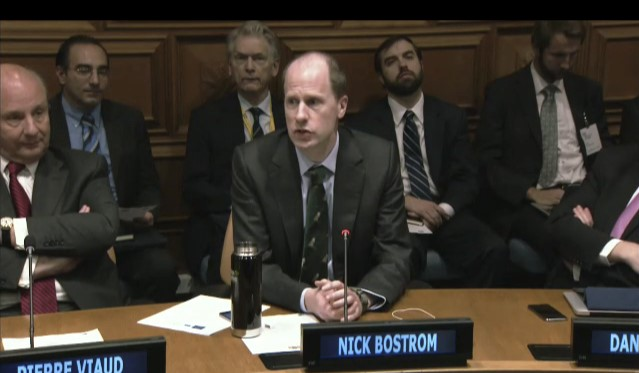 Nick Bostrom speaks at the United Nations on ising to the Challenges of International Security and the Emergence of Artificial Intelligence