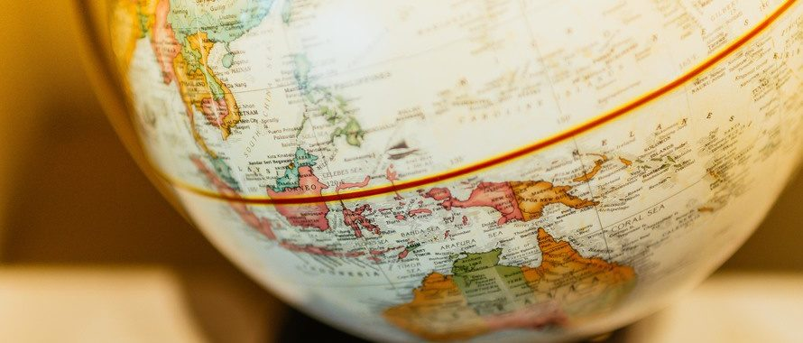 Closeup of globe, focussing in on indonesia