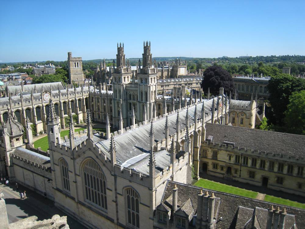 Birds view of one of the Oxford colleges